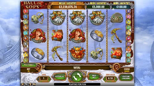 Hall Of Gods free slots review will guide you to 20 free spins bonus round, tru your best to get them right now
