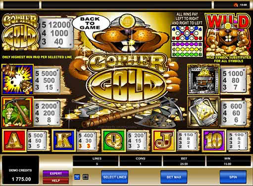 free slots machine games gopher gold