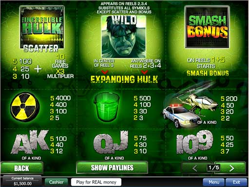 free slot machine games hulk