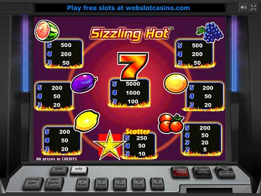 online casino free bet sizzling hot slot