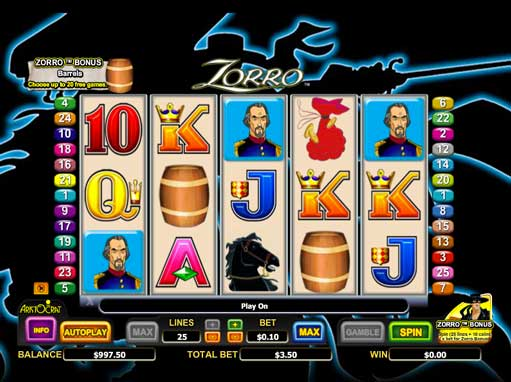free online zorro slot machines
